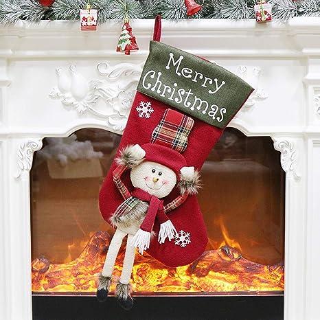 LEEDY - Bolsa de Caramelos para árbol de Navidad, decoración de Calcetines, Papá Noel