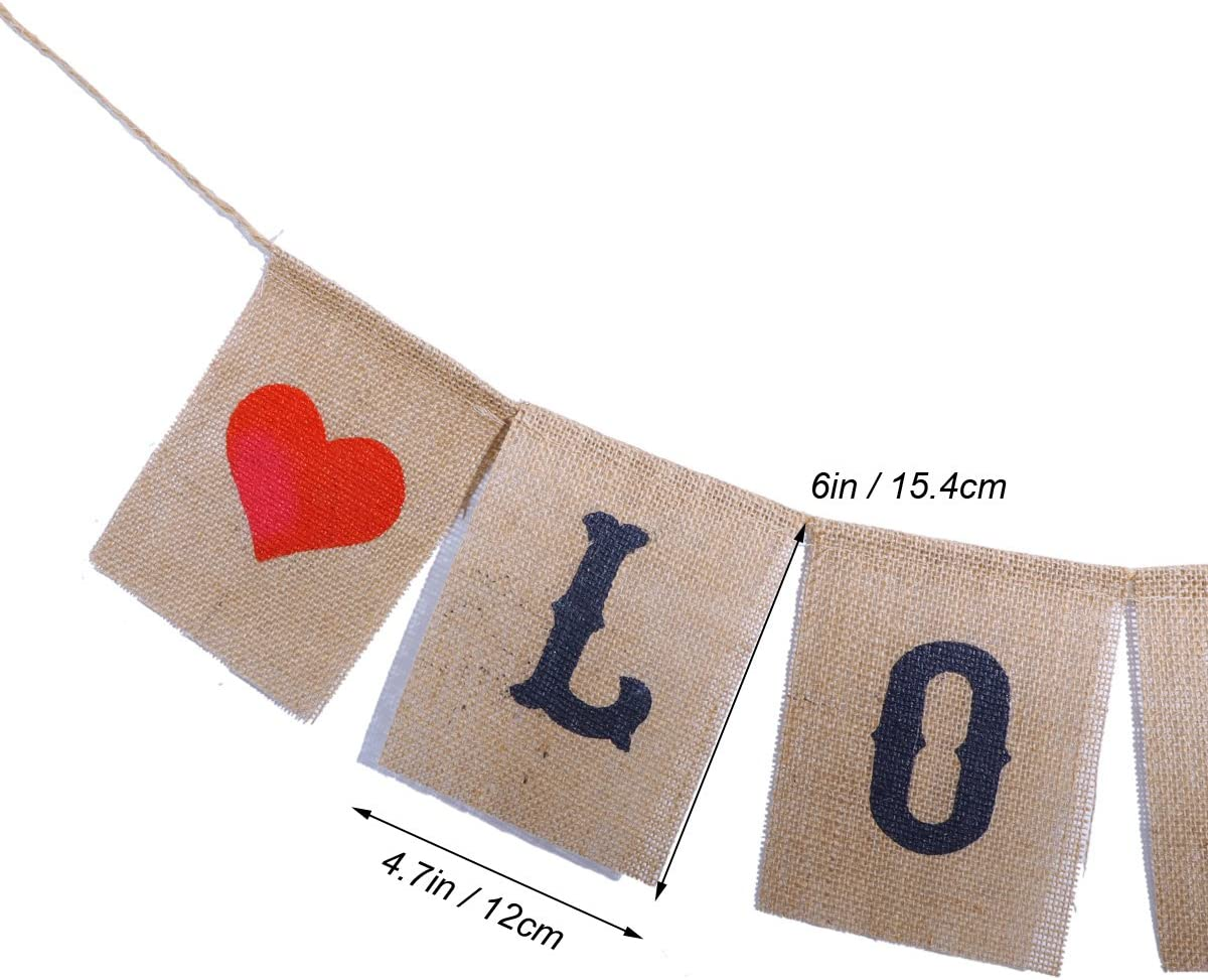 LUOEM LOVE Burlap Banners Sign Valentines Day Garland Decoration Photo Props for Wedding Engagement Party Favors