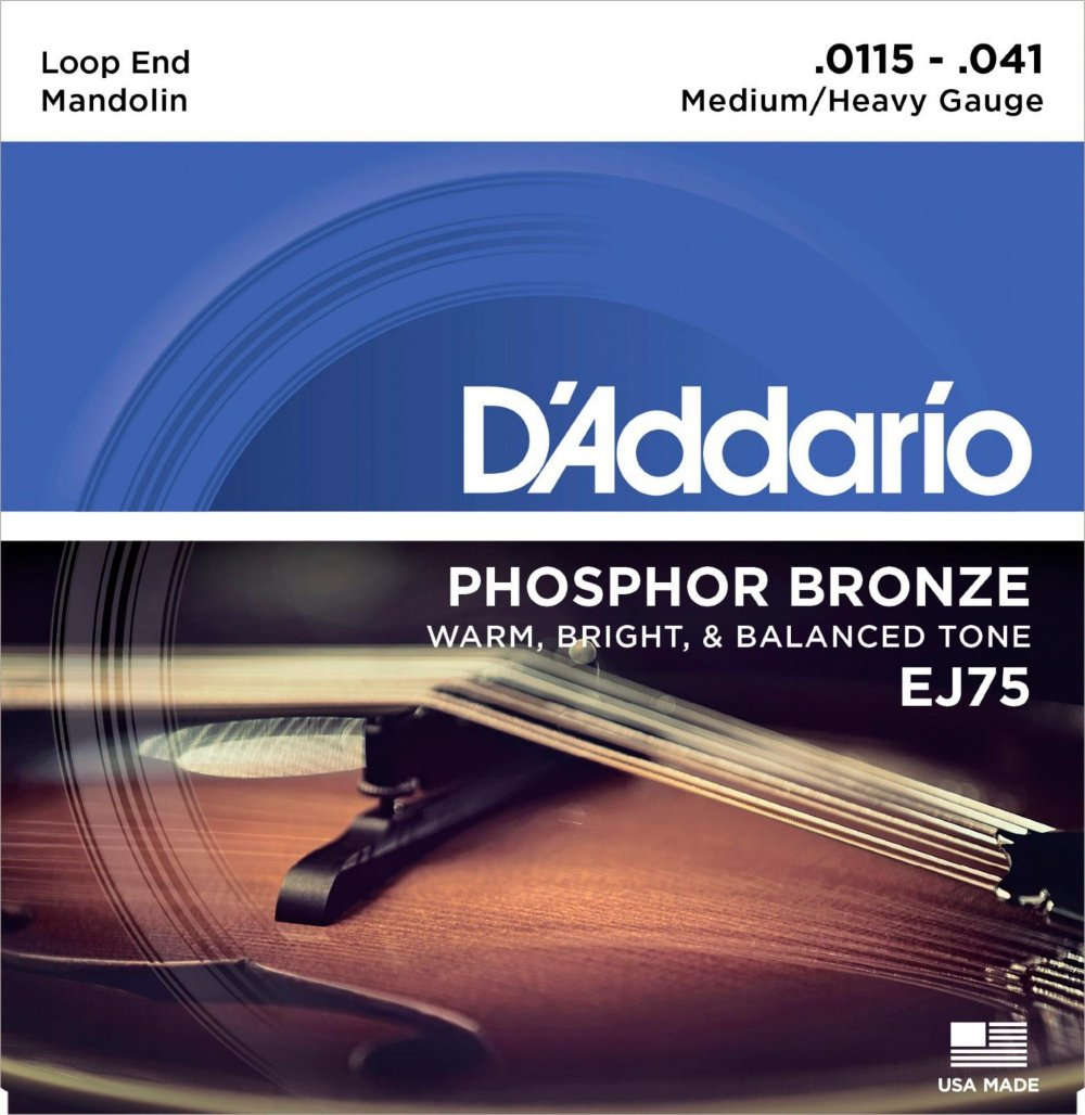 D'Addario EJ75 Phosphor Bronze Medium/Heavy Mandolin Strings (11.5-41) D'Addario