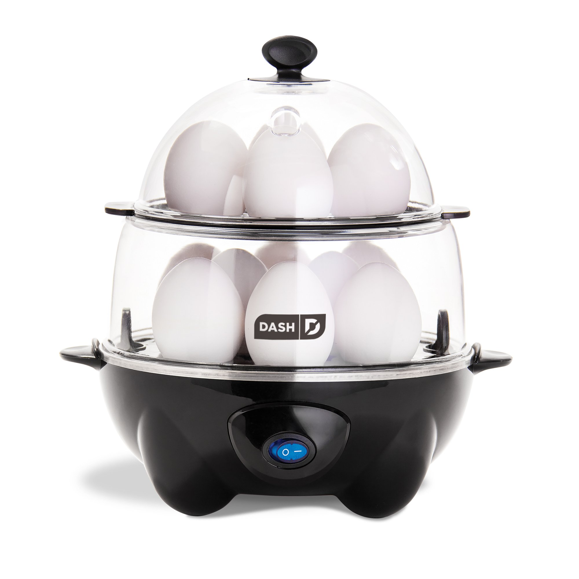 Dash Deluxe Rapid Egg Cooker: 12 Egg Capacity Electric Egg Cooker: Hard Boiled Eggs, Poached Eggs, Scrambled Eggs, Omelets, Steamed Vegetables, Seafood, Dumplings & More w/Auto Shut Off Feature Black