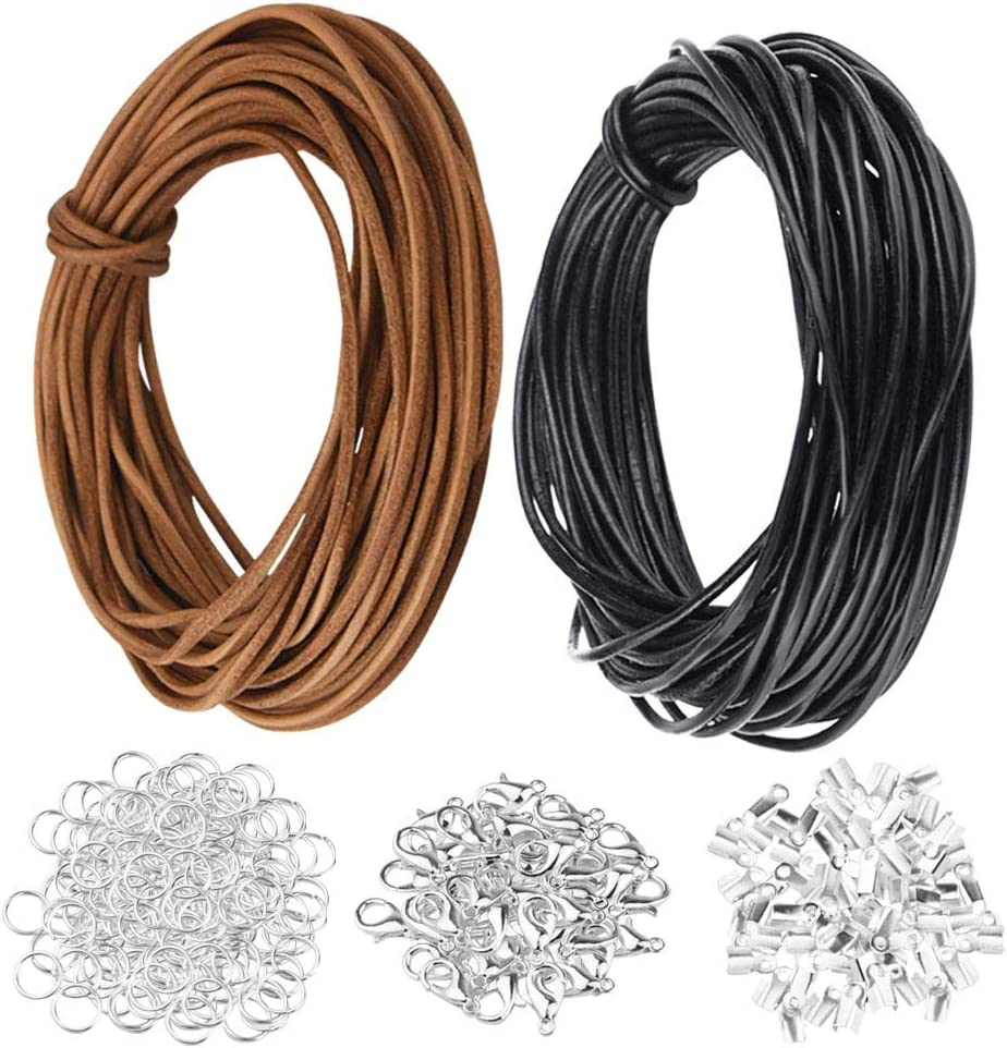 Dxhycc 20 Meters 2mm Genuine Leather Cord and 650 Pieces Jewelry Findings, Leather Necklace Cord for Bracelet Necklace Beading Jewelry DIY Crafts (Black+Brown)