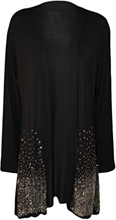 New Plus Size Ladies Sequin Cardigan Long Sleeve Womens Sparkle ...