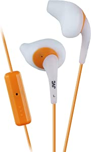 JVC White and Orange Nozzel Secure Comfort Fit Sweat Proof Gumy Sport Earbuds with long colored cord HA-ENR15W