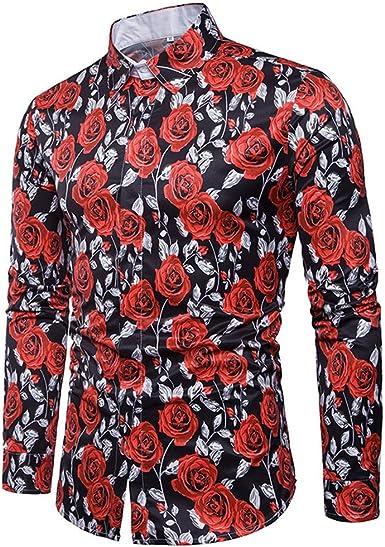 AiRobin Camisa de Manga Larga con Estampado de Rosa para Hombre Primavera Otoño: Amazon.es: Ropa y accesorios