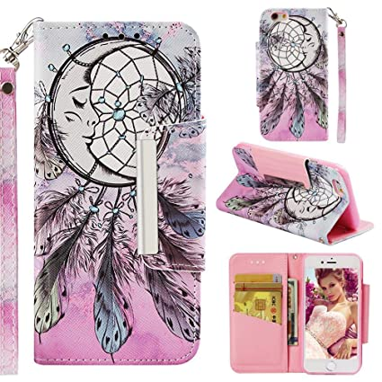 Firefish Case for iPhone 6/6S,Durable PU Leather Kickstand 3D Printing Wallet Case