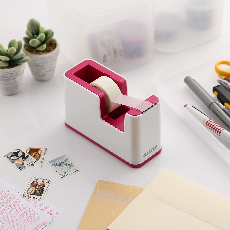 Leitz 53641023 Dispenser Per Nastro Adesivo Bianco//Fucsia Metallizzato Base Appesantita WOW Dual Color Nastro Incluso
