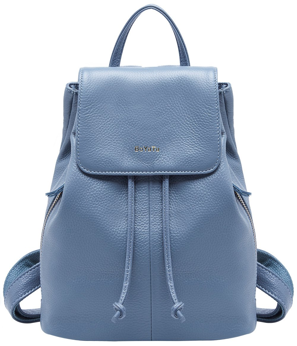 Genuine Leather Mini Backpacks for Women Cute Travel Bags Small Purse for Girls (Elegant Blue)