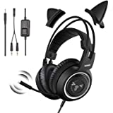 SOMIC G951S Black Stereo Gaming Headset with Mic for PS4, Xbox One, PC, Phone, Detachable Cat Ear 3.5MM Sound Detachable…