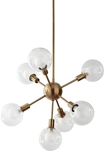 Amazon Brand Rivet Mid-Century Modern Sputnik Glass Globe Ceiling Pendant Chandelier Fixture With 7 Light Bulbs – 22.5 x 22.5 x 24 Inches, Gold