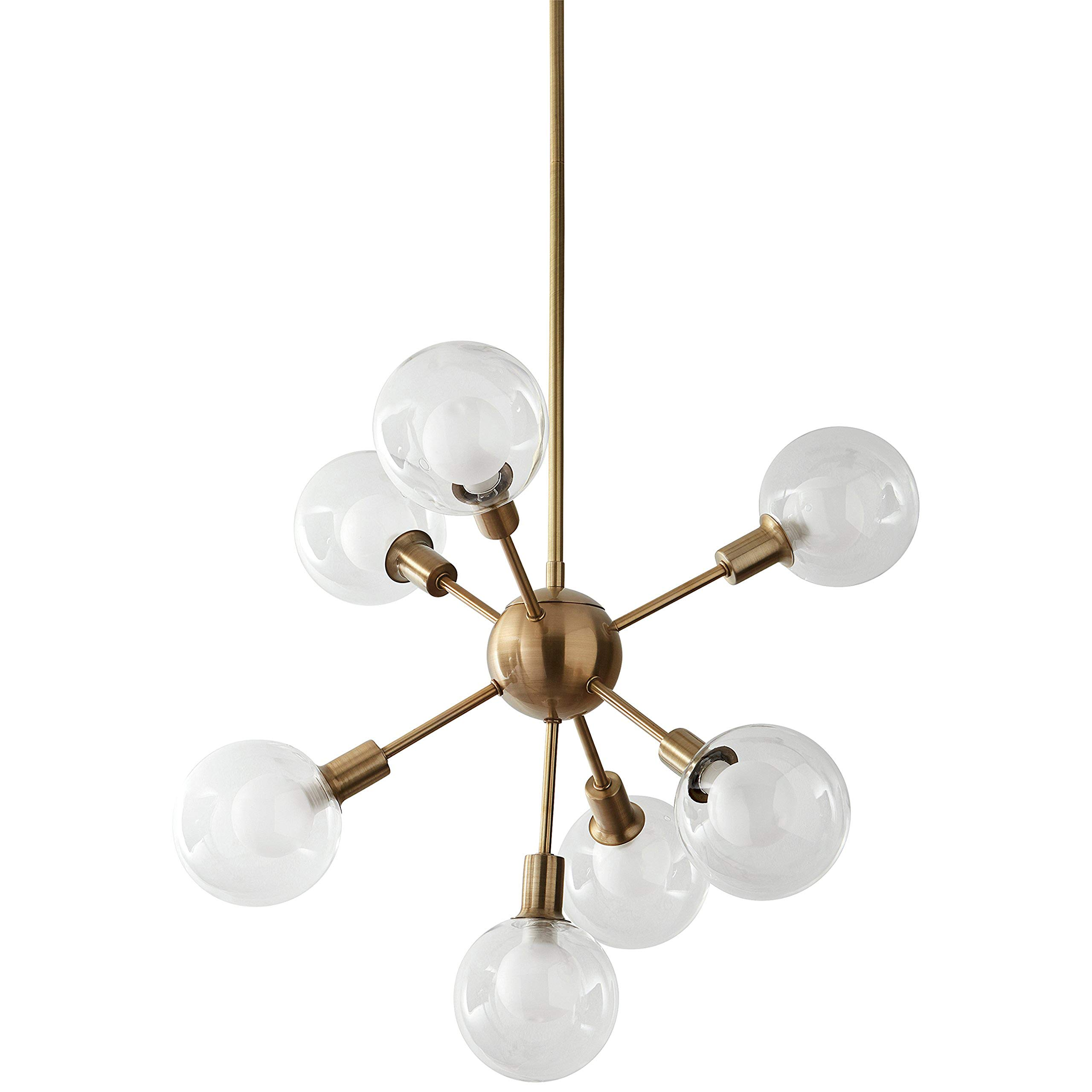 Rivet Mid-Century Modern Chandelier, 24''H, With Bulb, Gold with Glass Globes