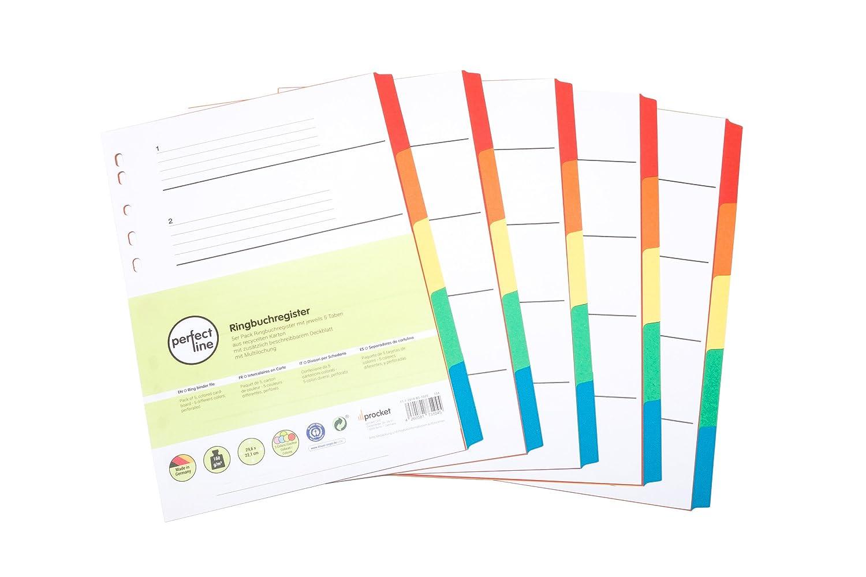perfect line 5 registri a colore composti da 5 parti con una fascia (5x5), separatori registro in 5 colori 160g/m², organizzazione perfetta in ufficio procket