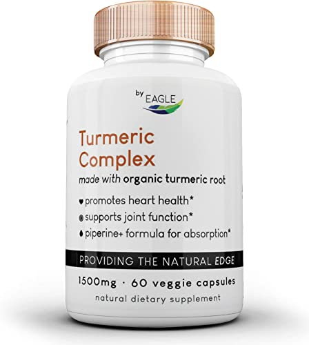 Turmeric Curcumin Complex – Made with Organic Turmeric Root 95 Curcuminoids – 1500mg Turmeric Root, 150mg Curcuminoids 10mg Piperine Extract 60 Capsules