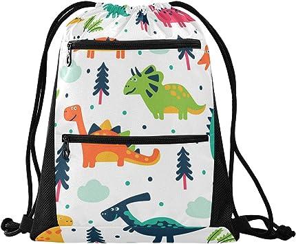 Drawstring Backpack Dinosaurs Gym Bag
