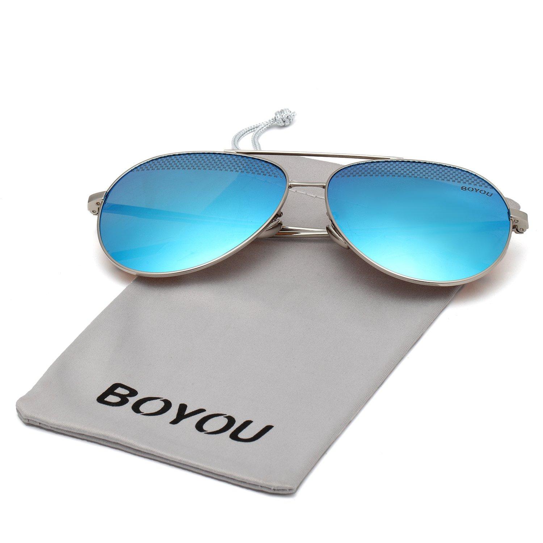 BOYOU Gafas de sol lente de espejo aviador clásicos con protección UV400: Amazon.es: Deportes y aire libre