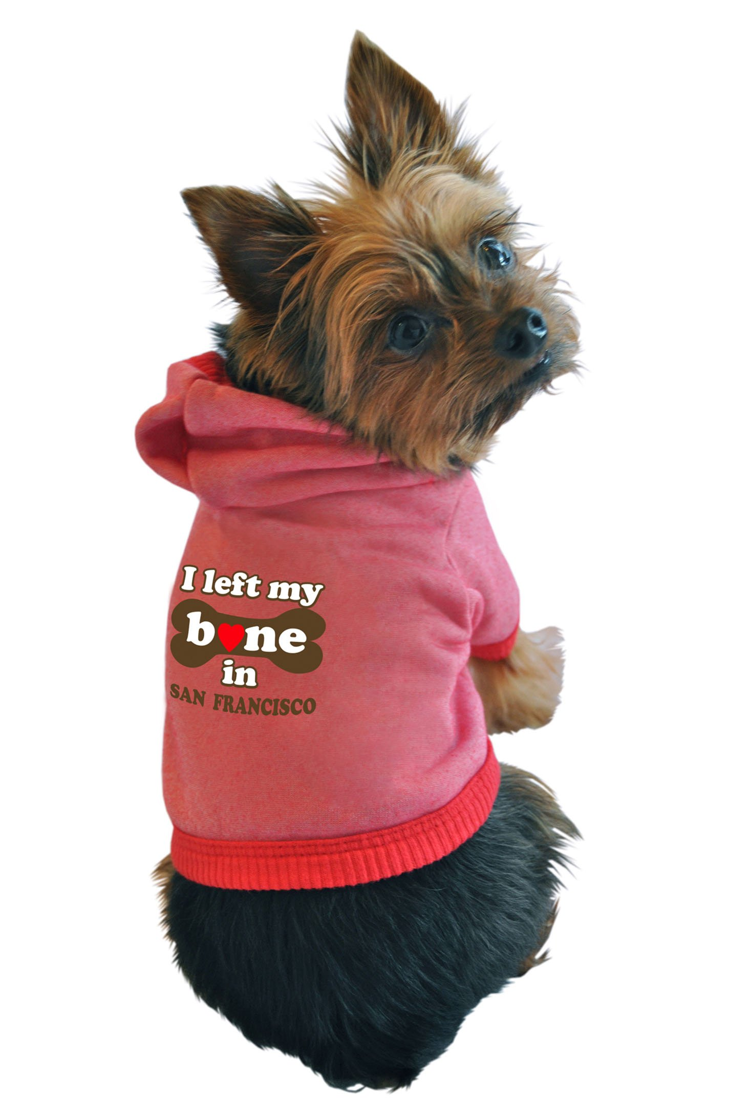 Ruff Ruff and Meow Dog Hoodie, I Left My Bone In San Francisco, Red, Medium