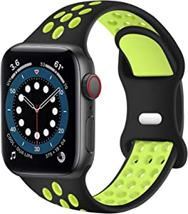 SVISVIPA Sport Bands Compatible for Apple Watch Bands 42mm 44mm,Breathable Soft Silicone Sport Women Men Replacement Strap Compatible with iWatch Series SE/6/5/4/3/2/1,Black Volt