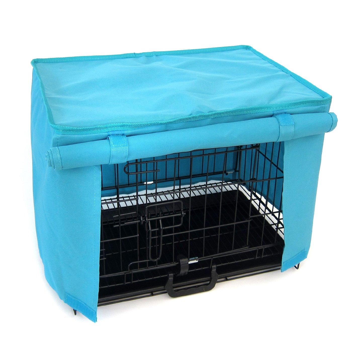 Alfie Pet by Petoga Couture - Dakota Pet Polyester Crate Cover - Color: Blue, Size: Medium