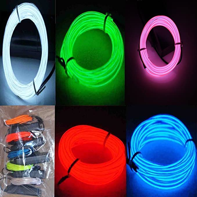 5 Pack - Neon leuchtende Strobing Elektrolumineszenz-El-Draht (Blau ...