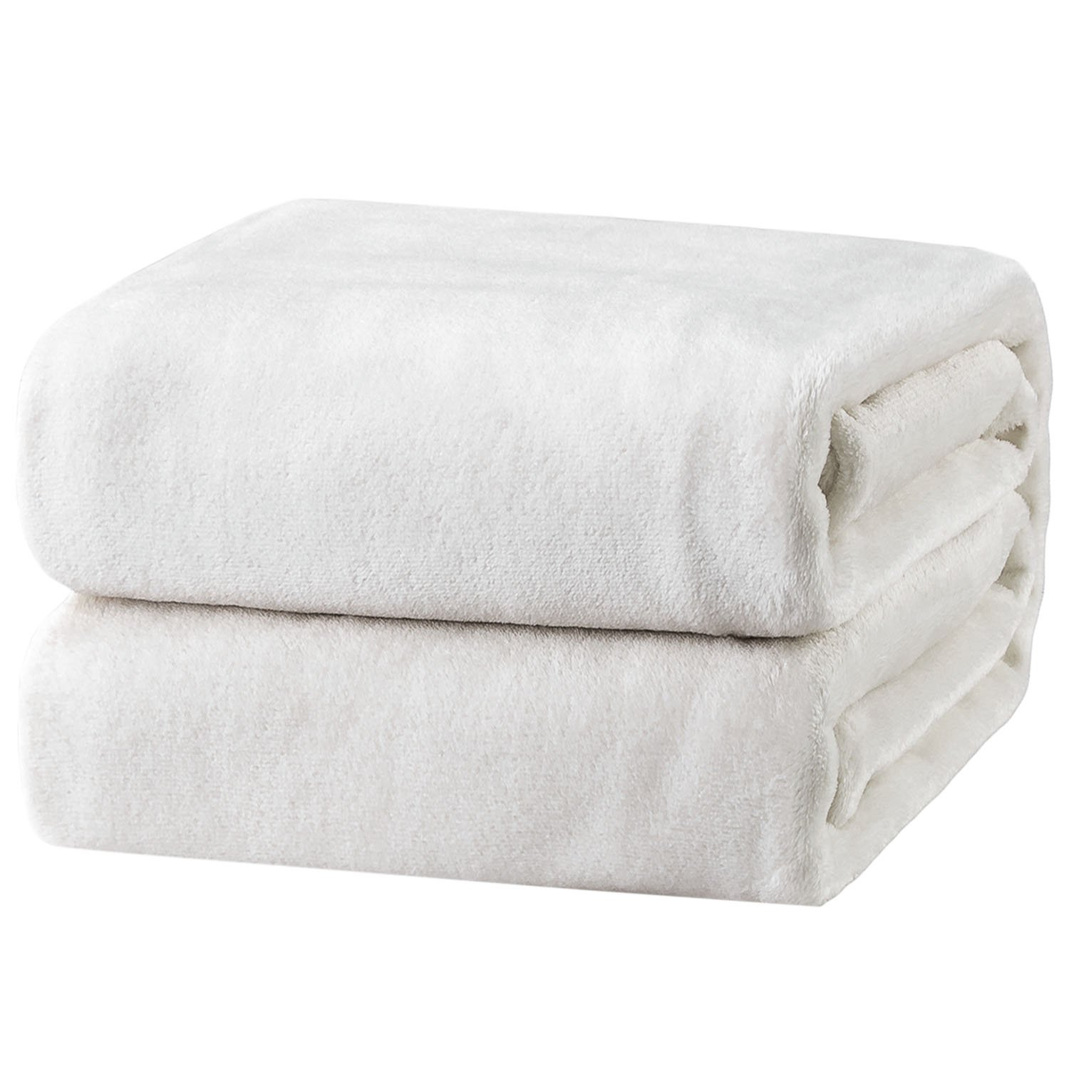 Bedsure Flannel Fleece Luxury Blanket White Twin Size Lightweight Cozy Plush Microfiber Solid Blanket
