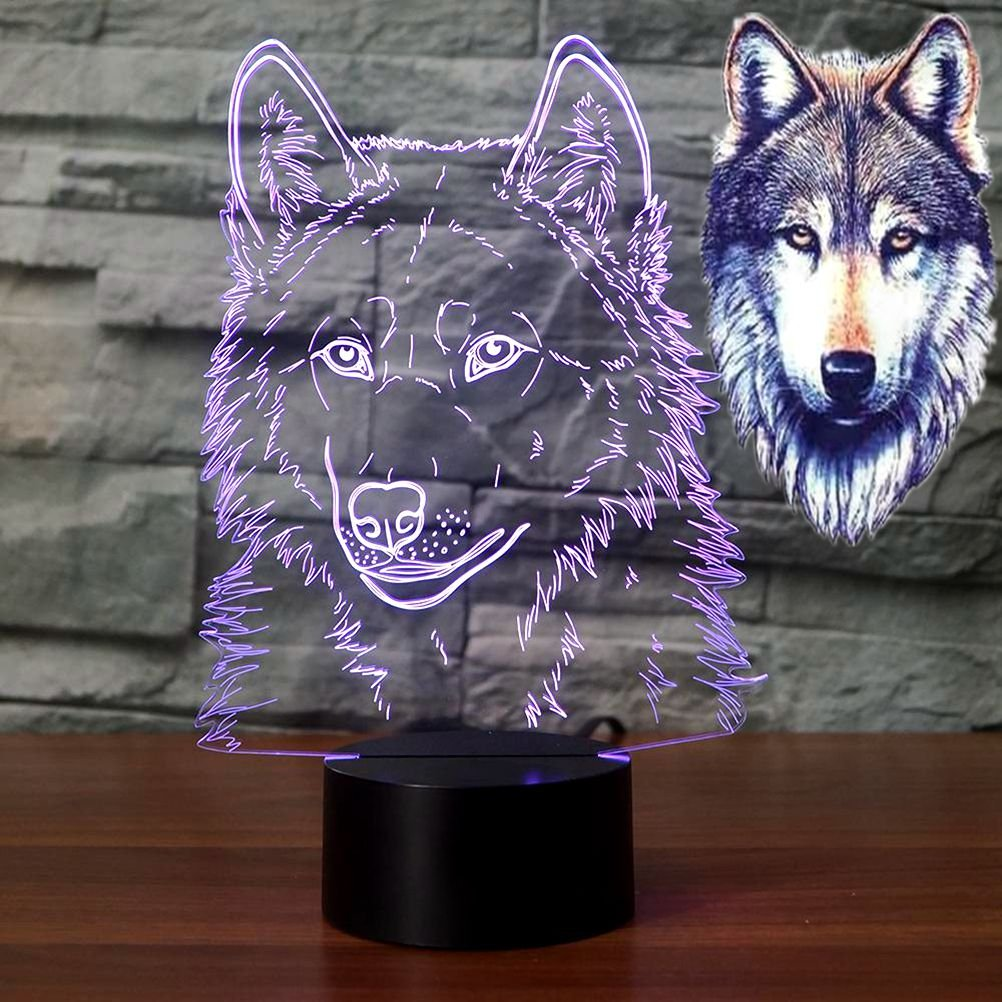 3D Illusion Lamps Animal Langtou Shape LED Desk Table Night Light 7 Color Touch Lamp Kiddie Kids Children Family Holiday Gift Home Office Childrenroom Theme Decoration (Langtou)