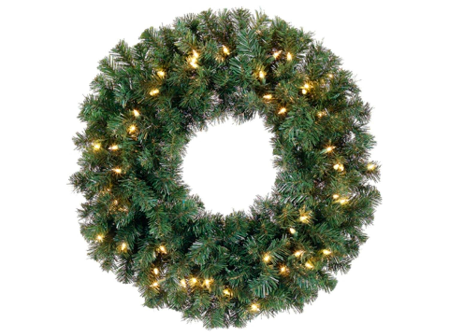 Allstate 24'' Pre-Lit Deluxe Windsor Pine Artificial Christmas Wreath - Clear Lights