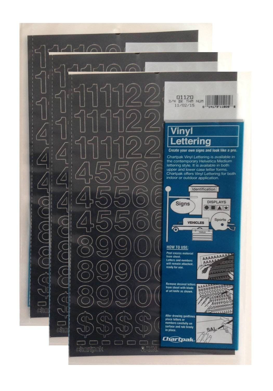 Chartpak 3/4-inch Black Stick-on Vinyl Numbers (01120), 3 PACKS