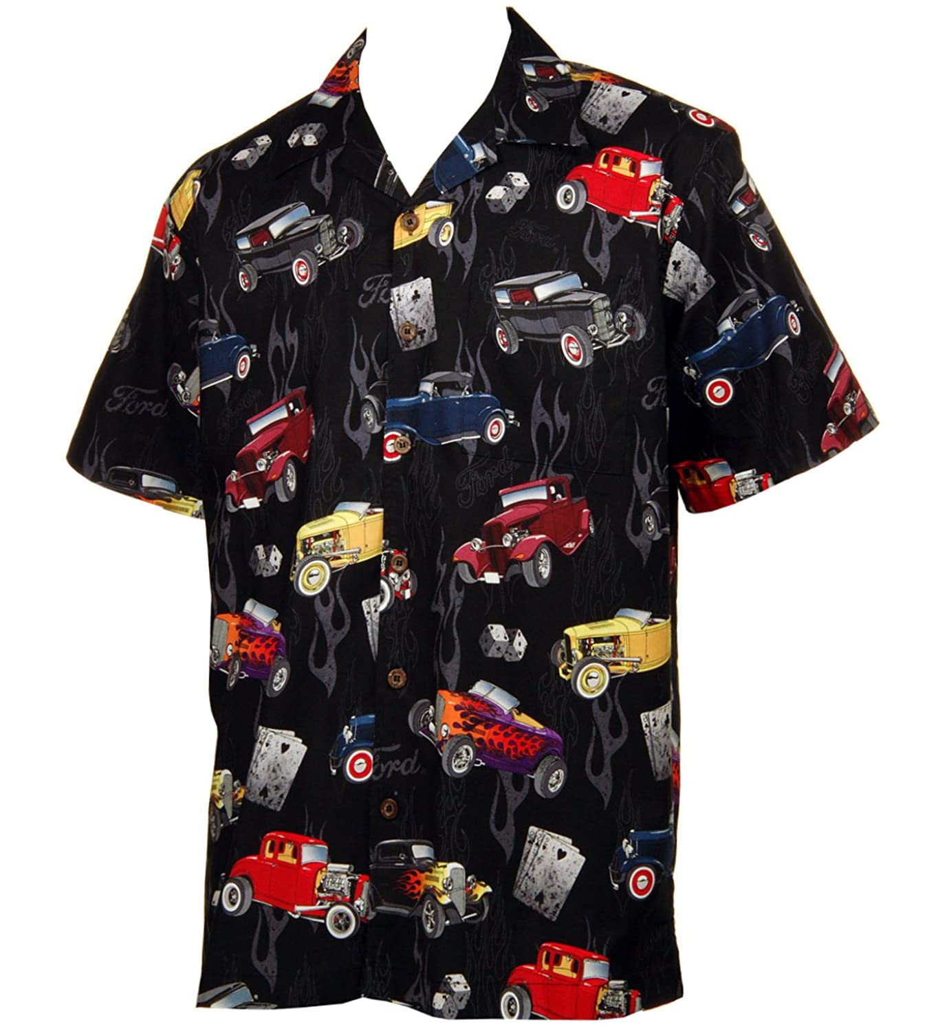 1950s Men's Costumes: Greaser, Elvis, Rockabilly, Prom Ford 32 Deuce Coupes Hot Rod Cars Hawaiian Camp Shirt by David Carey $54.99 AT vintagedancer.com