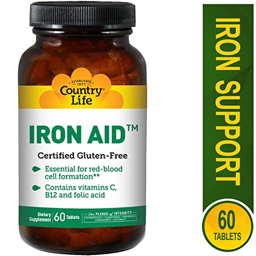 Amazon.com: Country Life Iron Aid - 60 Tablets - Essential for red-Blood-Cell Formation - Contains Vitamin C, B12, and Folic Acid: Health & Personal Care