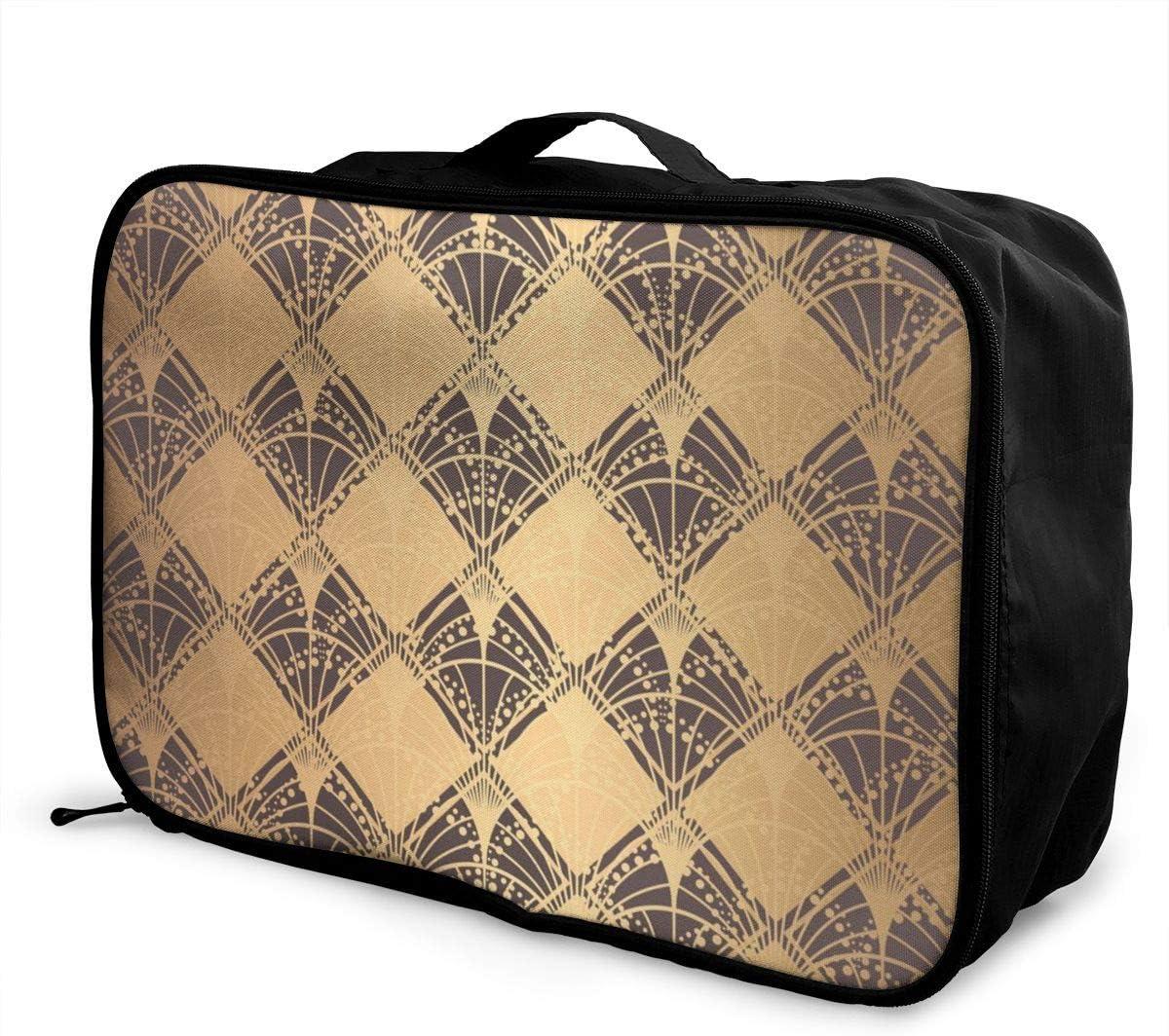 Yunshm Golden Irregular Decorative Patterns Customized Trolley Handbag Waterproof Unisex Large Capacity For Business Travel Storage