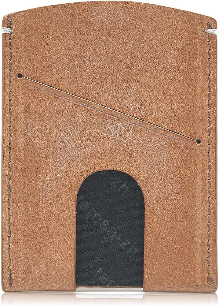 Teresazh Handmade Slim White Wax Leather Card Holder with Gift Box