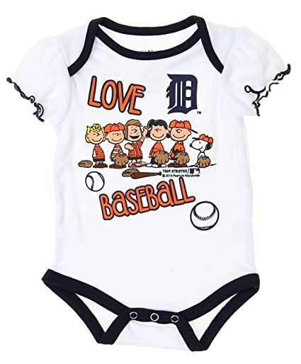 3b98135d28c Outerstuff MLB Detroit Tigers Baby Girls Infants Peanuts Love Baseball  Creeper