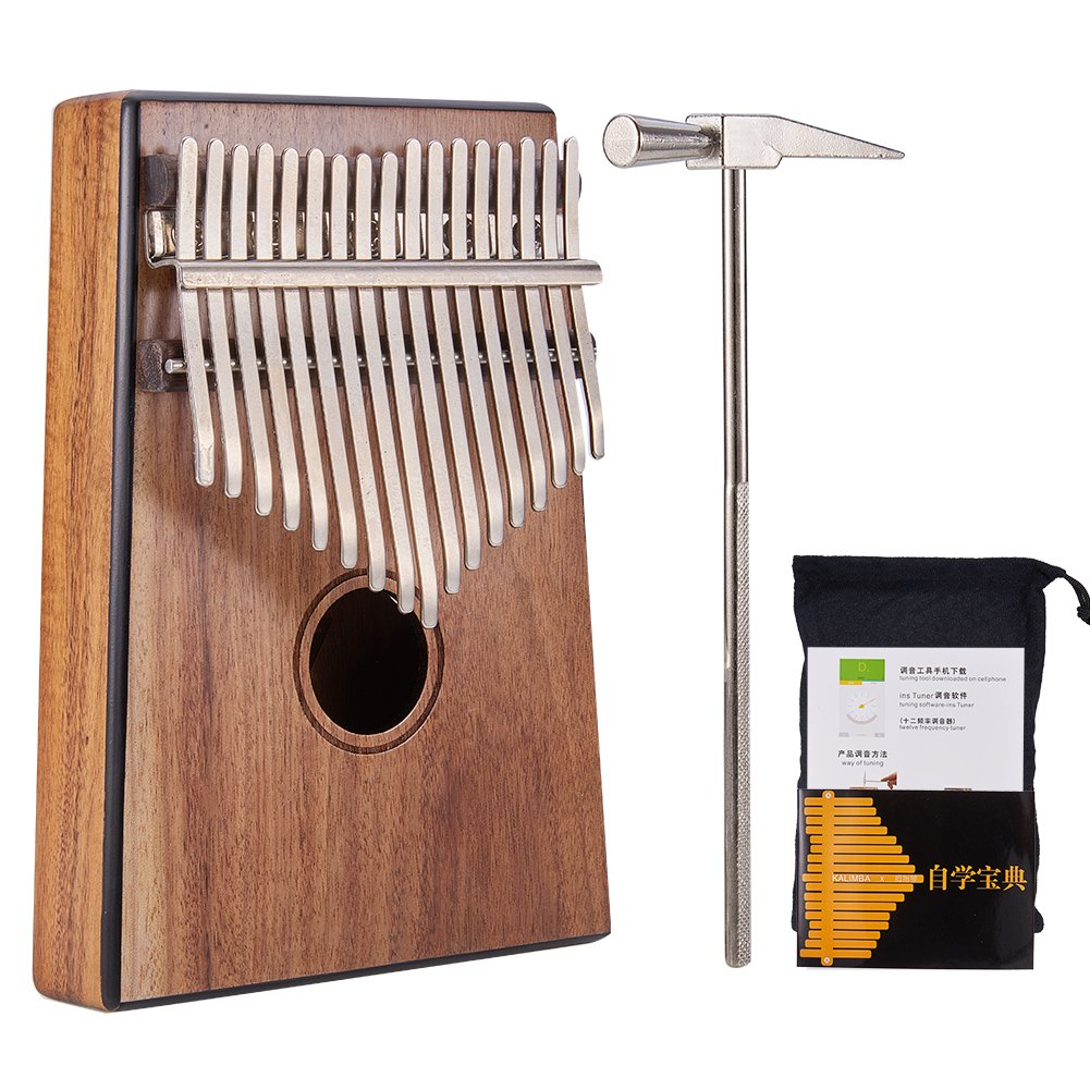 WANDIC Kalimba Mbira Sanza 17 Keys Thumb Piano Portable Pocket Size Beginners Friendly Solid Finger Piano Solid KOA Wood Body Ore Metal Tines with Black Border Design by WANDIC
