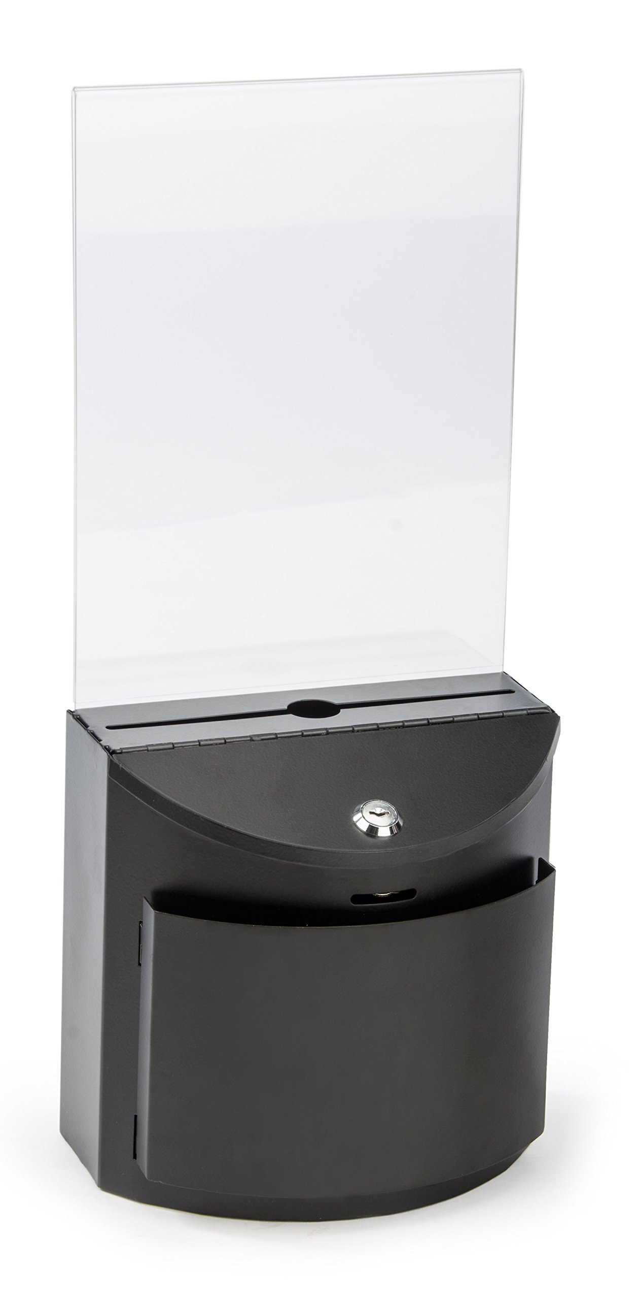 Displays2go Slim Ballot and Suggestion Box, Locking, Blank Comment Card Pocket, 8.5 x 11 Inches Sign Holder, Black Metal (MSB8511BLK)