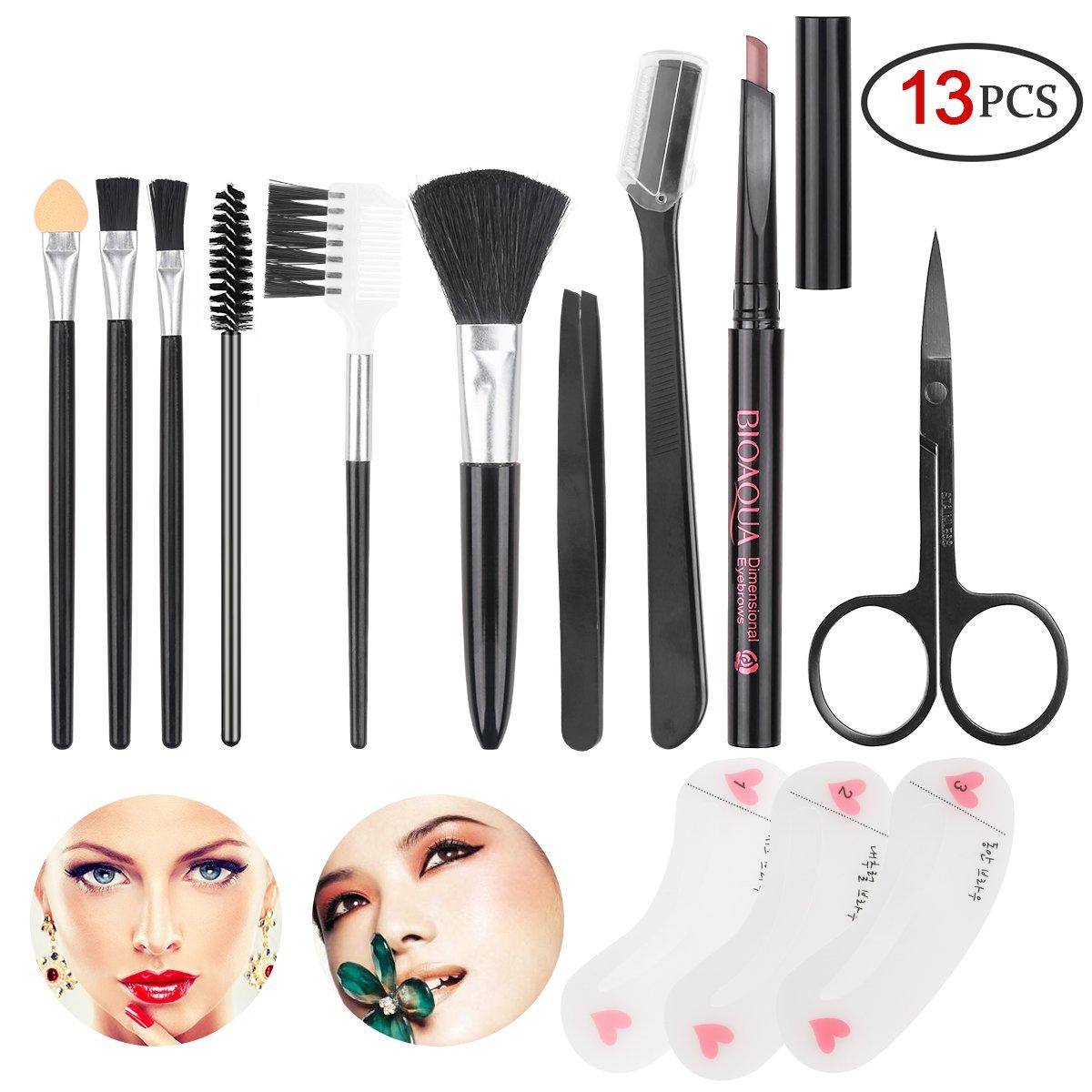 Eyebrow Kit Eyeshadow Brushes Blush Brush Stencil Tweezers Makeup Brush Set for Women and Maiden and Teenage Girls (Dark Brown Eyebrow Pencil) SENXILLER
