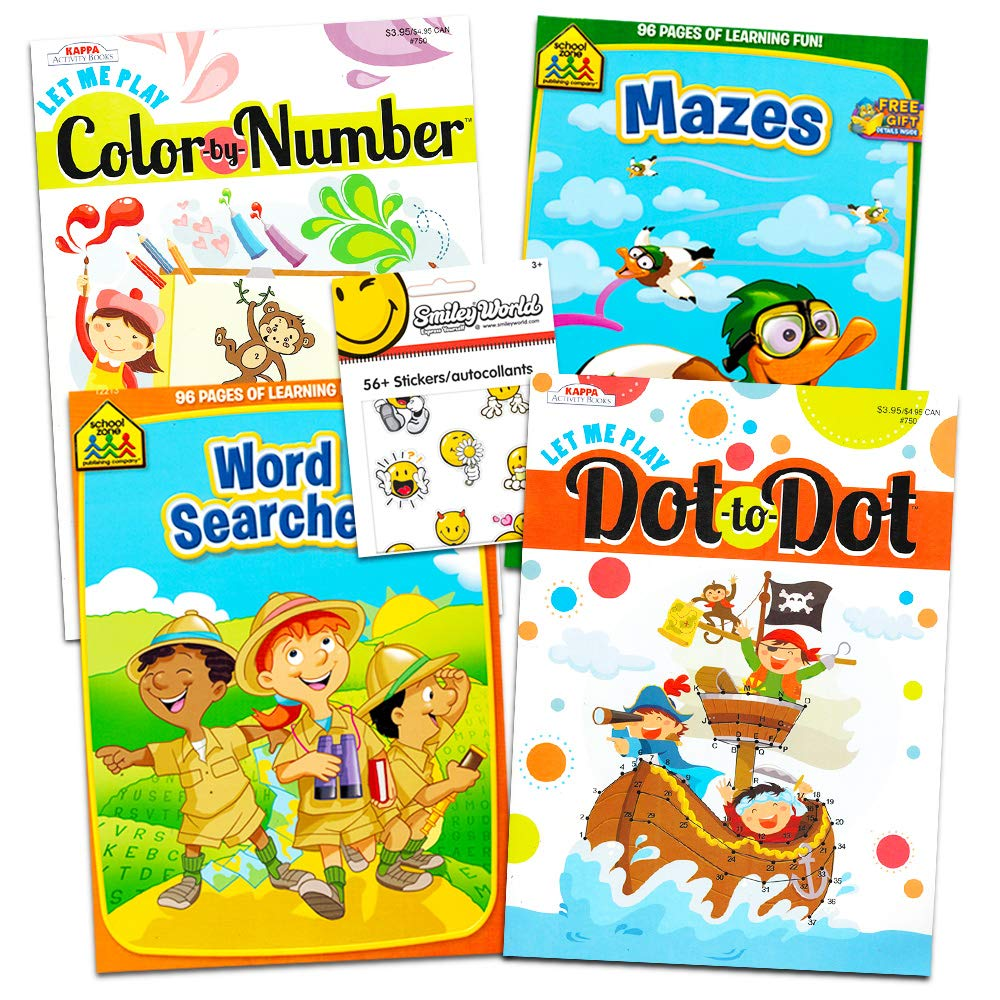 Amazon.com: School Zone Activity Book Set Kids-- 4 Books (Mazes, Connect  the Dots, Hidden Pictures, Word Searches, Stickers): Toys & Games