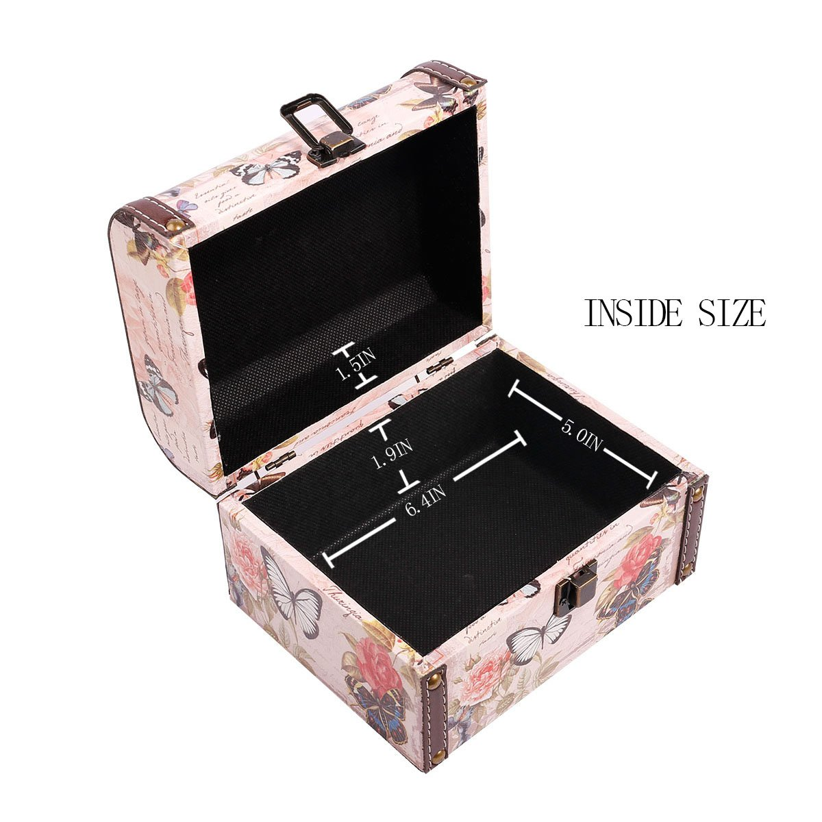 WaaHome Butterfly Wooden Treasure Boxes Decorative Jewelry Keepsakes Box for Kids Girls Women Gifts,Pink (7.1''X5.6''X4.7'') by WaaHome (Image #4)