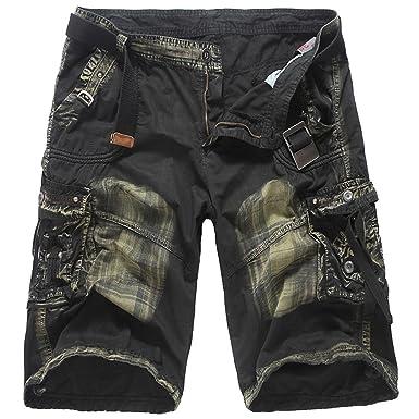 3378fb8f6e14f WSLCN Homme Camouflage Cargo Shorts d'Eté Outdoor Bermudas Shorts de Sport  Militaire Pantacourt Décontractée