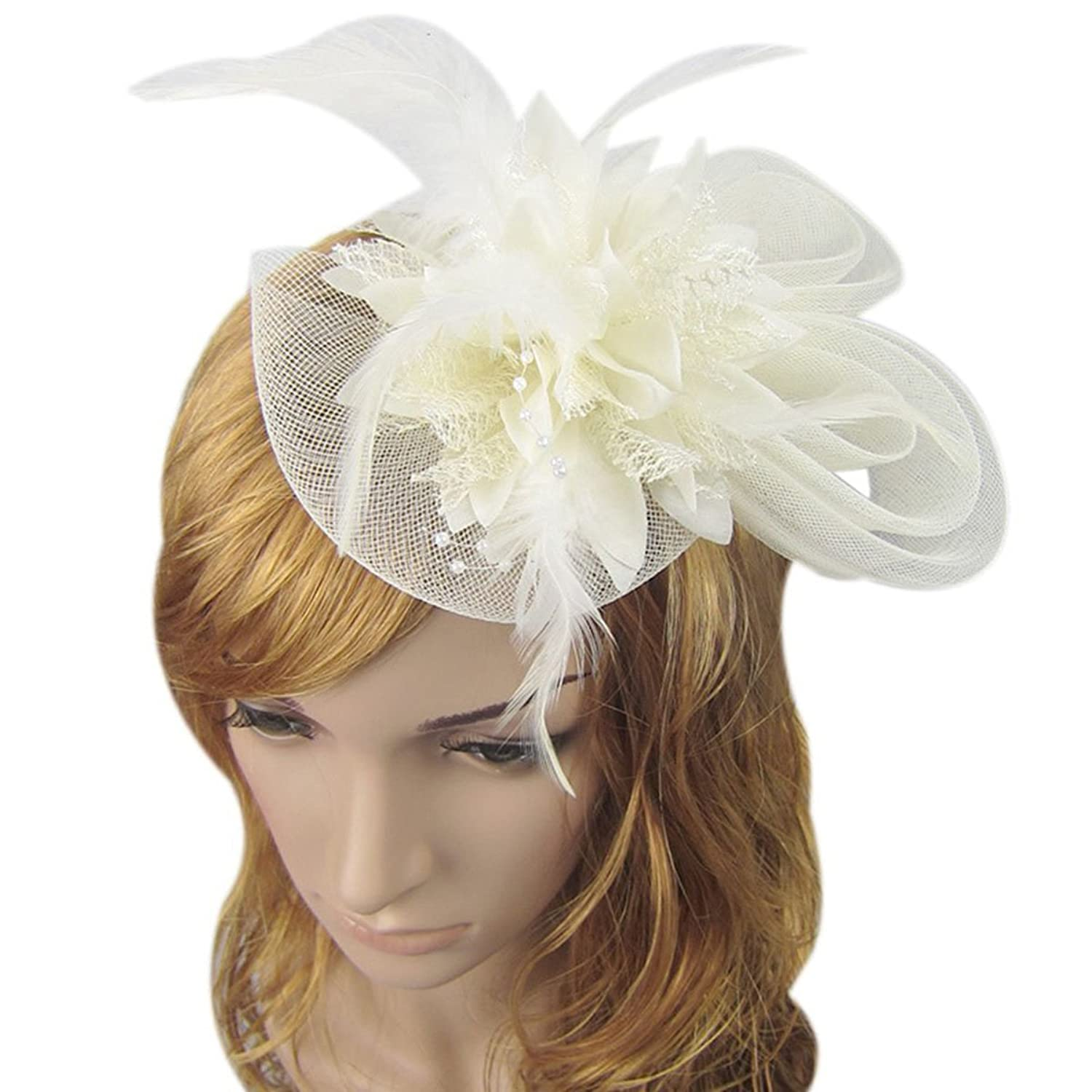 Label Be Feather Bow Fascinator Headband jO2TpIGYZC