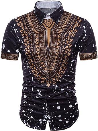 Camiseta para Hombre, Blusa Superior de Manga Corta con Cuello en V Manga Corta con Estampado Africano de Verano de los Hombres