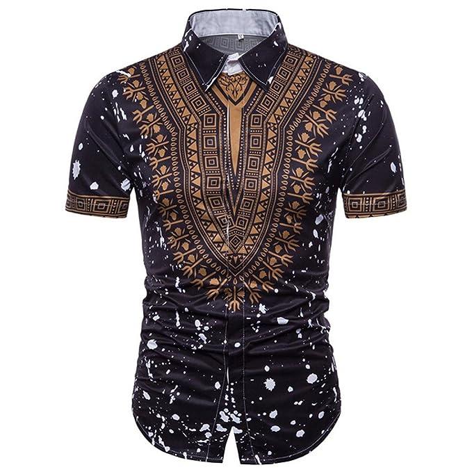 Camiseta para Hombre, Blusa Superior de Manga Corta con Cuello en ...