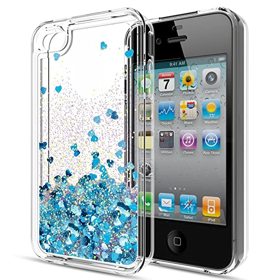 newest af973 95a66 iPhone 4S Case,iPhone 4S Liquid Case for Girls Women,LeYi Cute Shiny  Glitter Moving Quicksand Clear TPU Protective Phone Case Cover for Apple  iPhone ...
