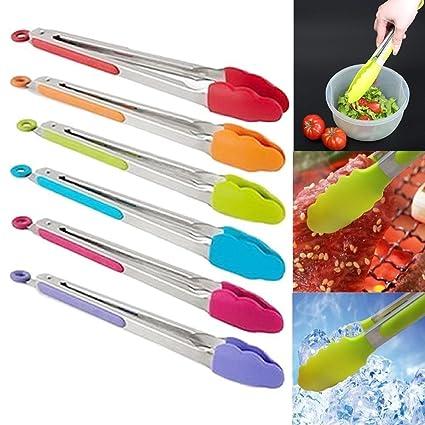 Interesting® Silicona y acero inoxidable cocina barbacoa ensalada comida sirviendo pinzas de cocina