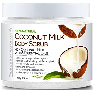 Pure Body Naturals Coconut Milk Body Scrub with Dead Sea Salt, Almond Oil and Vitamin E for All Skin Type