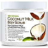 Pure Body Naturals Coconut Milk Body Scrub with Dead Sea Salt, Almond Oil and Vitamin E for All Skin Type, 12 oz.