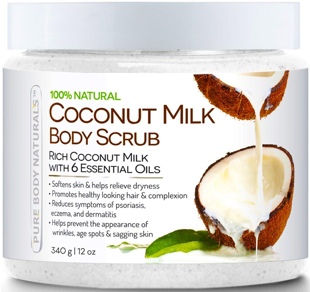 Pure Body Naturals Coconut Milk Exfoliating Body Scrub with Dead Sea Salt, 12 Ounce