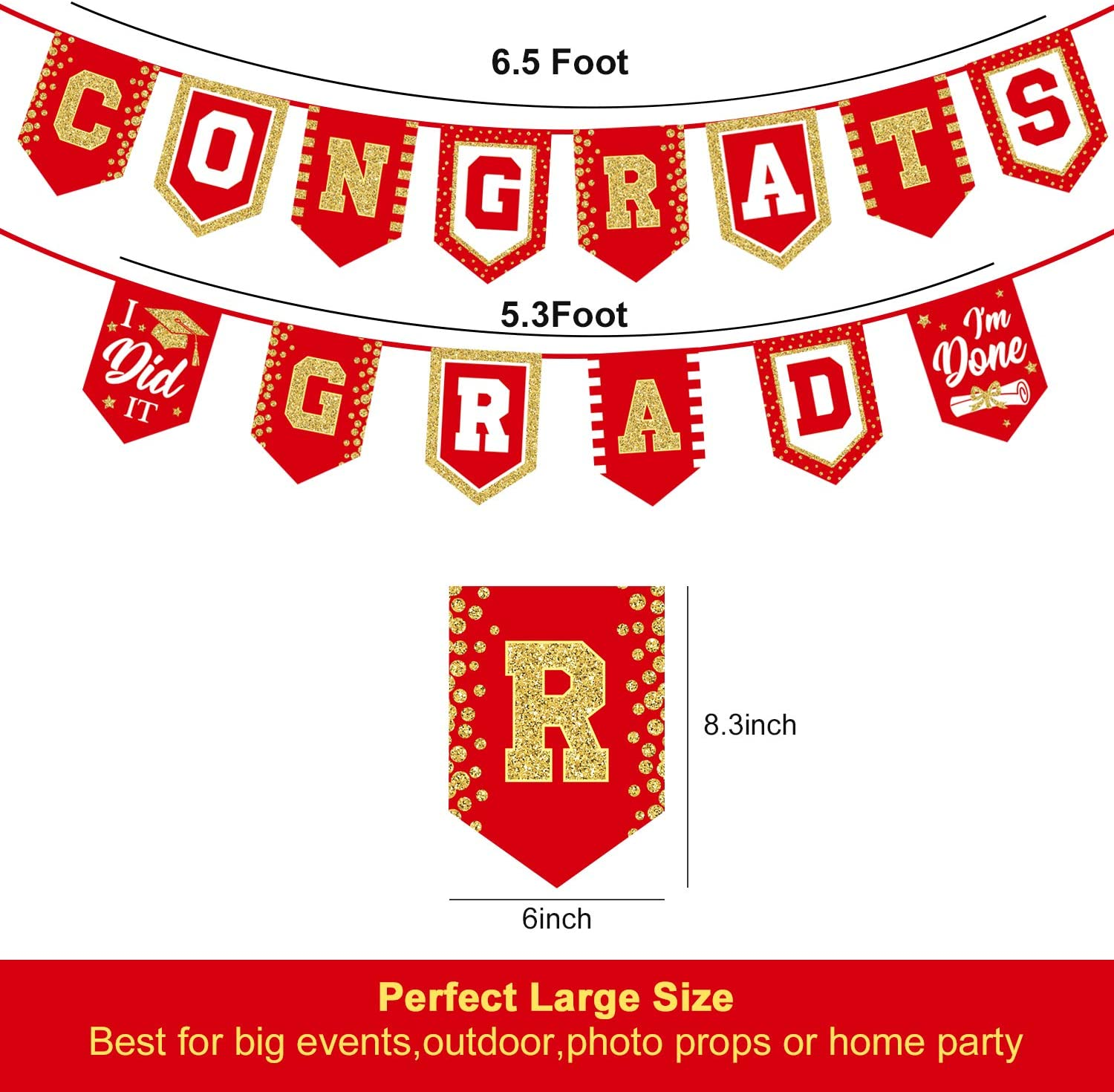 Red Graduation Congratulations Banner with Cap