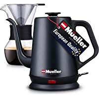 Mueller Coffee Serving Set Electric Gooseneck Kettle with Pour Over Drip Set Coffee Maker, Stainless Steel Coffee…
