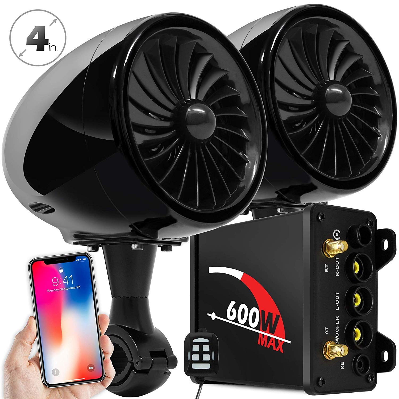 GoHawk TJ4 2.1 Channel Amplifier 4'' Full Range Waterproof Bluetooth Motorcycle Stereo Speakers Audio System AUX FM Radio for 7/8-1.25 in. Handlebar Harley Honda Yamaha Can-Am ATV UTV RZR Polaris