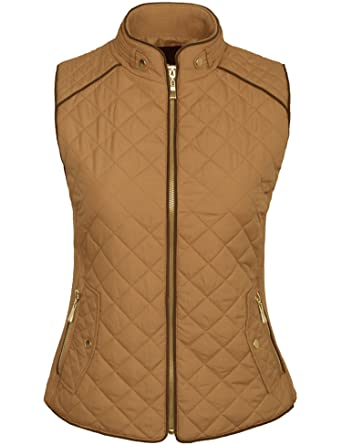 6f598532035 BOHENY Womens Quilted Fully Lined Lightweight Zip Up Vest S-3X-S-CAMEL