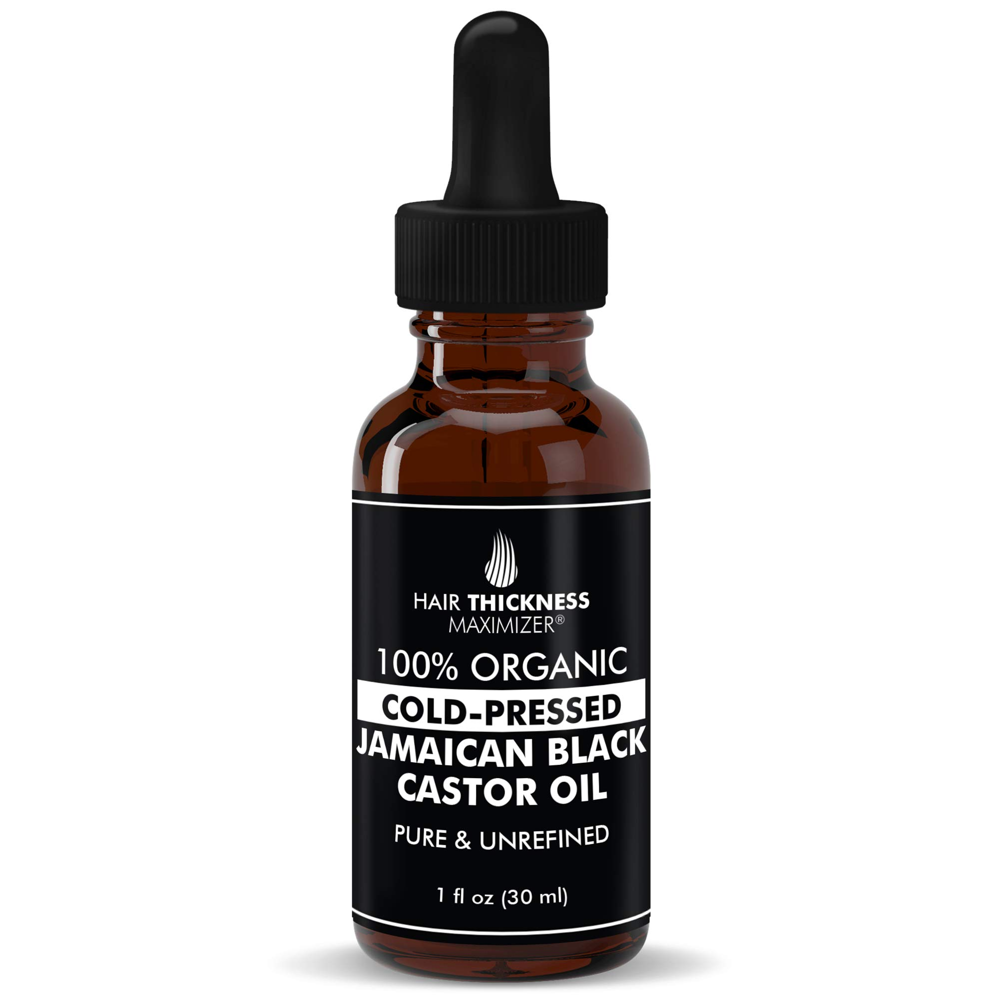 100% Organic Cold-Pressed Jamaican Black Castor Oil (1fl Oz) By Hair Thickness Maximizer. PURE + UNREFINED Oils For Thickening Hair, Eyelashes, Eyebrows. Avoid Hair Loss, Thinning Hair for Men + Women